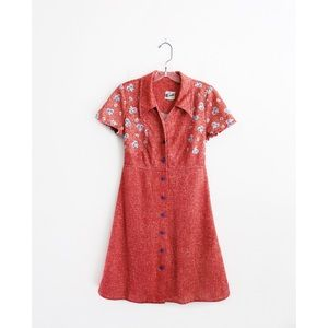 Vintage 60s Red Short Sleeve Mini Shirt Dress M